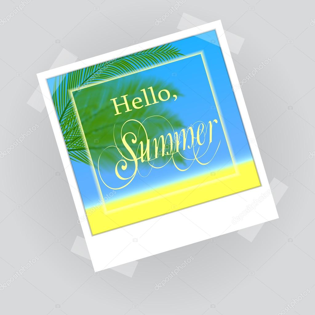 Hello summer lettering in photo frame
