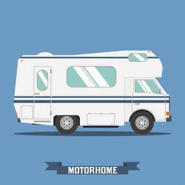 Traveler truck flat vector icon.