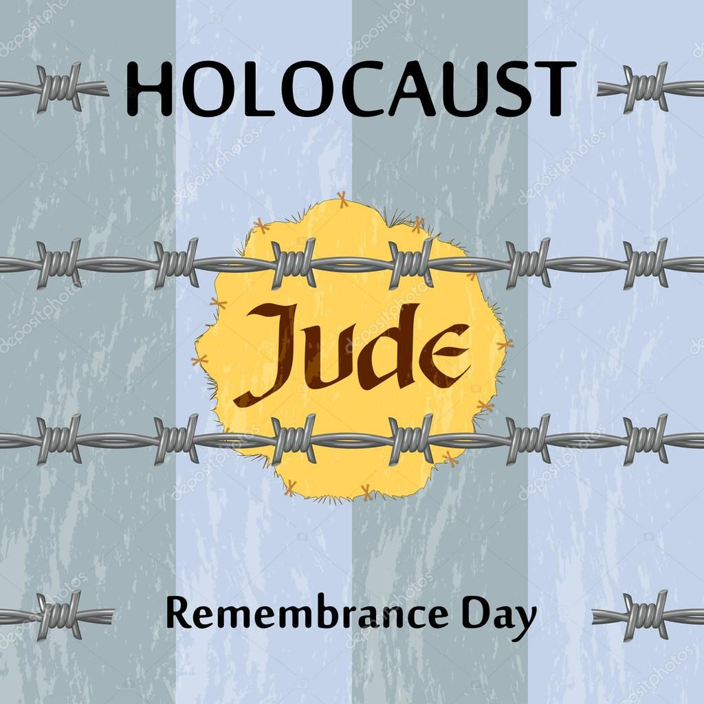Vector Jewish star and barbed wire. Holocaust remembrance day il ...