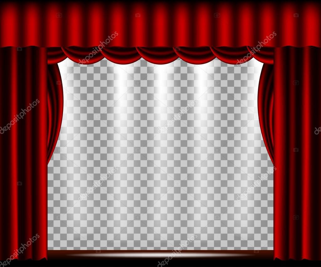Scène De Théâtre De Vecteur Avec Rideau Rouge Image Vectorielle