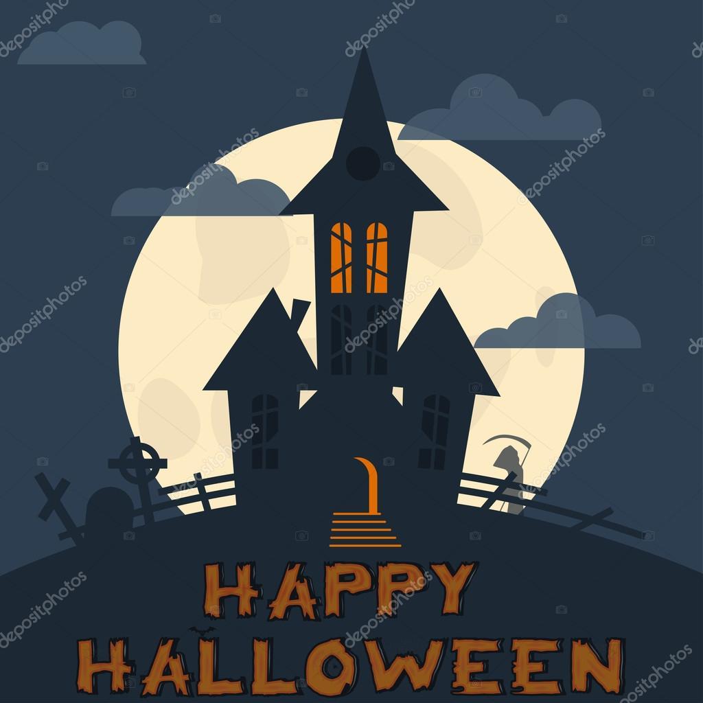 Plantilla de diseño de Halloween. Misterioso paisaje con Castillo ...