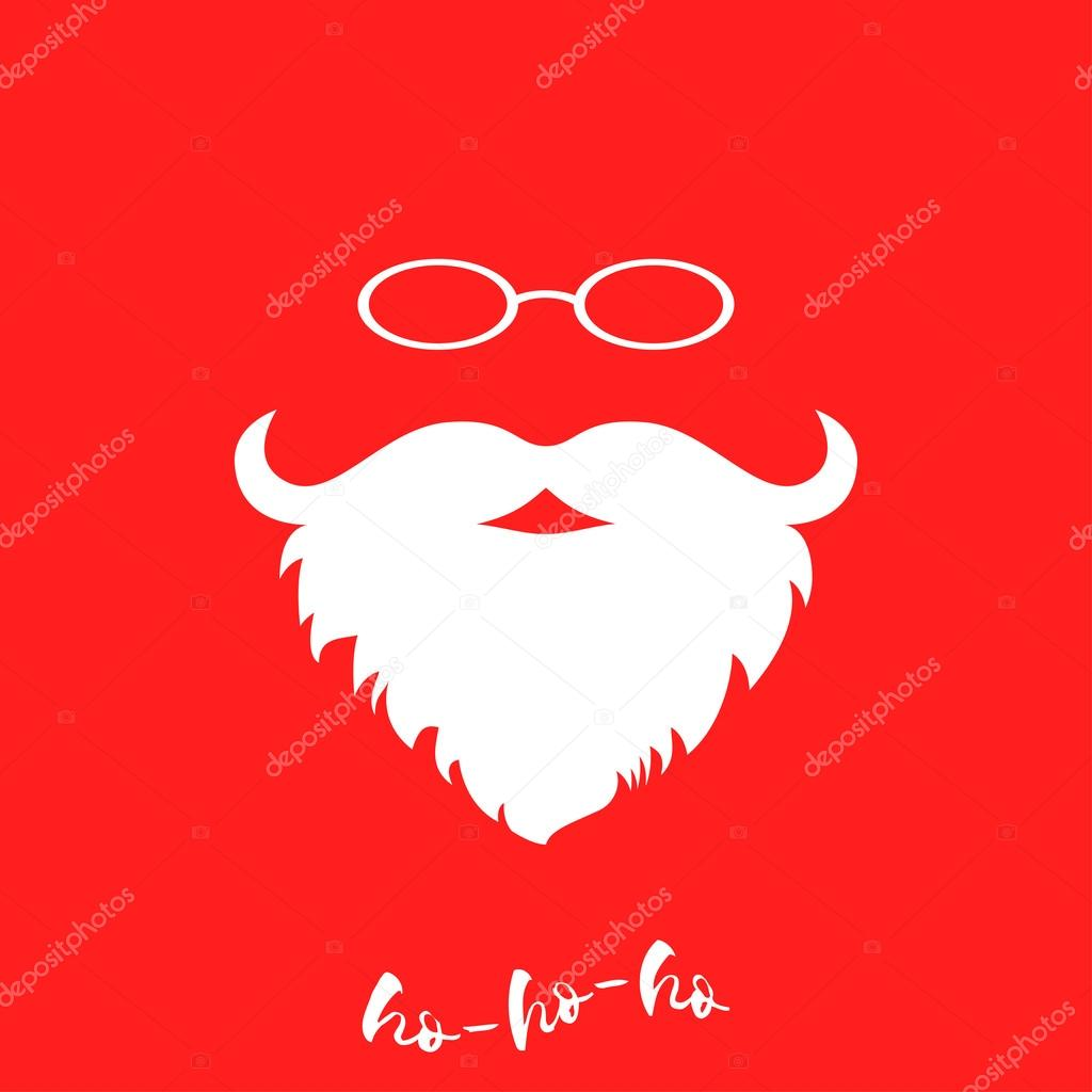 Santa Clauss Luxuriant White Beard And Glasses Template For