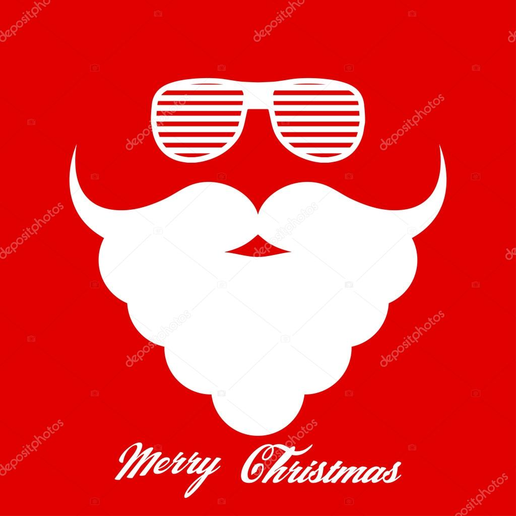 Santa Clauss beard and hipster glasses. Template for Christmas ...