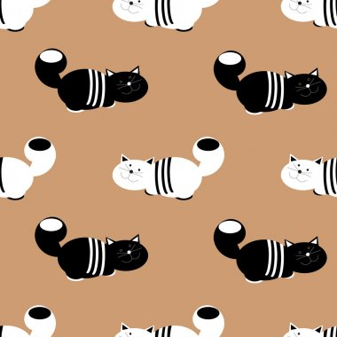 Funny cats seamless pattern background