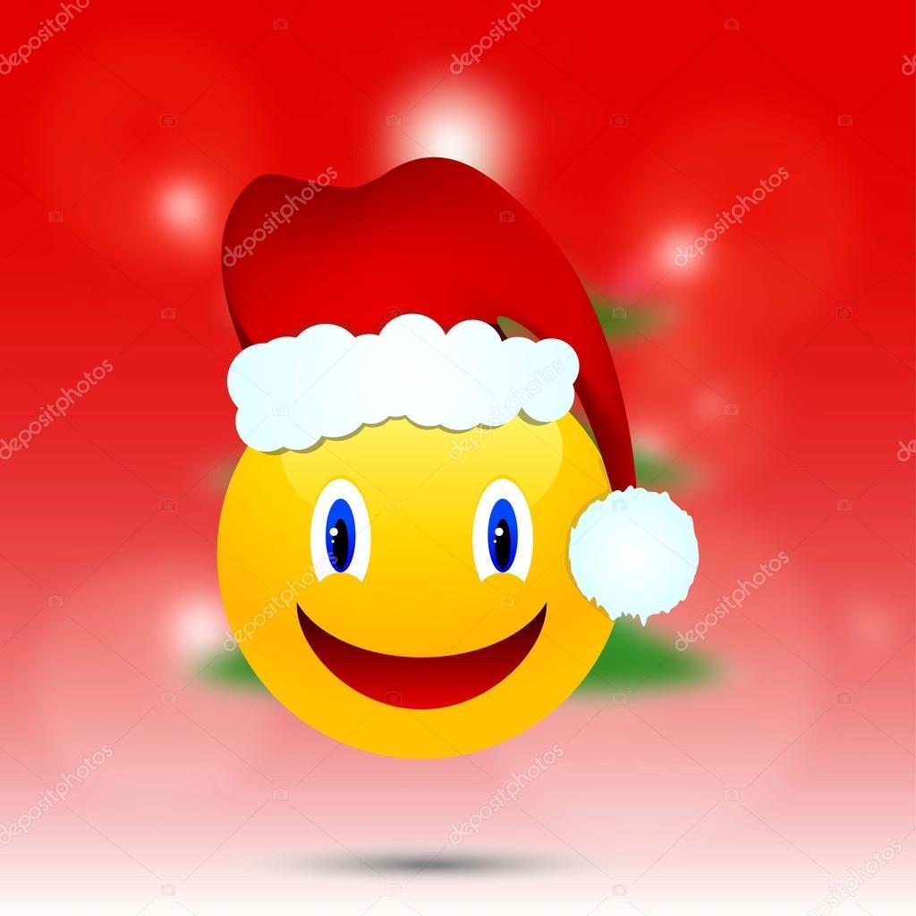 Smiley in Weihnachten Hut auf der Hintergrund jedoch unscharf ...