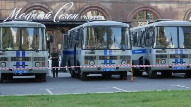 Buses With Riot Police on the Streets of Moscow