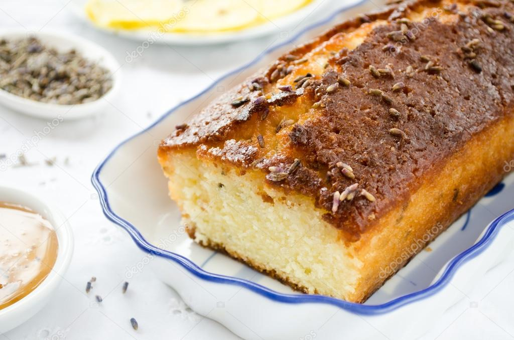 French cake with lavender flowers and lemon glaze