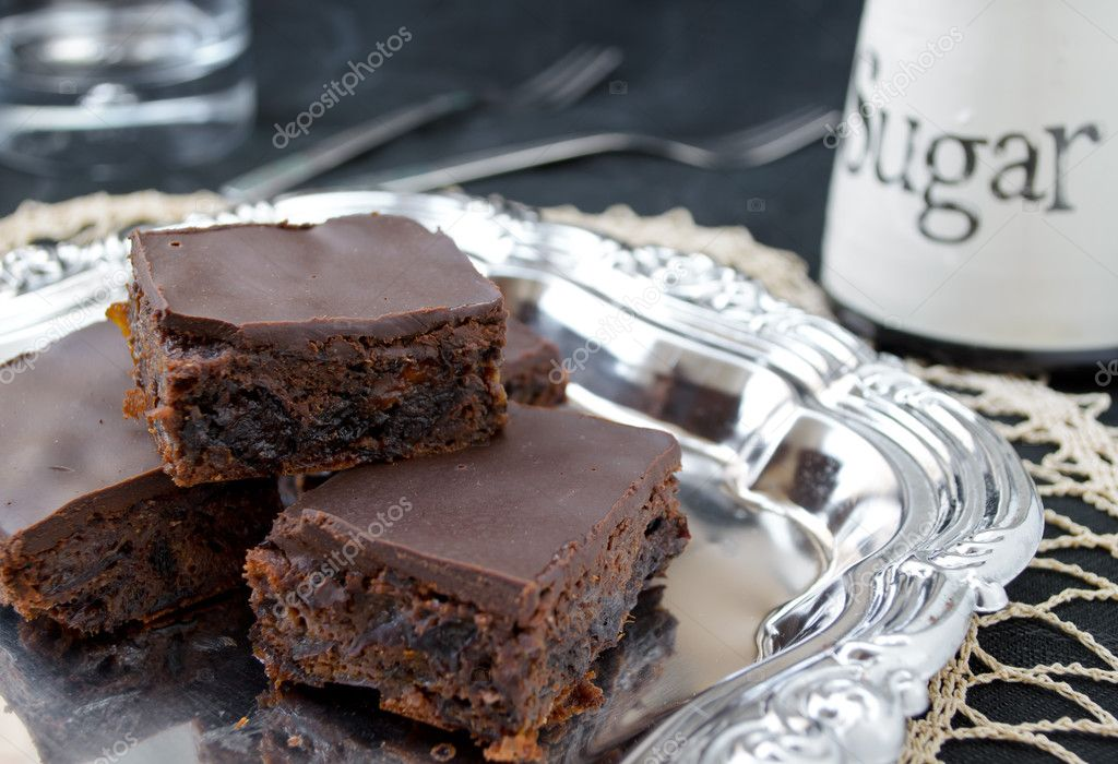 Homemade healthy chocolate brownies with dried fruits — Stock Photo