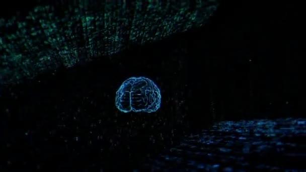 Concept digital brains on code background