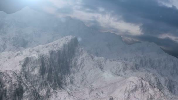 snow capped mountain range.