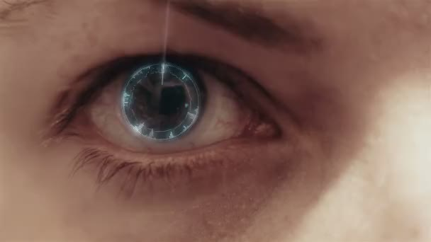 Womans eye being digitally scanned
