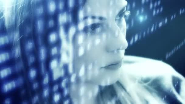 Futurisztikus nő szaggató köhögés kód