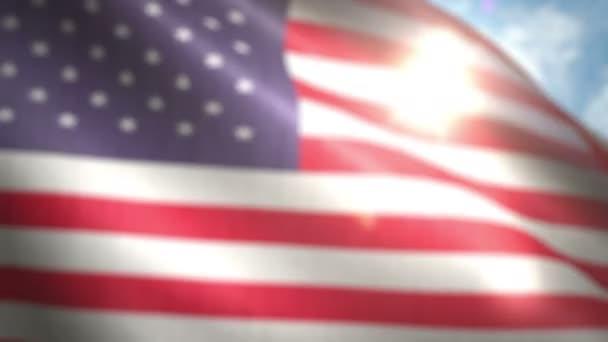 Americká vlajka mávání na vítr