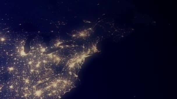 Severní Amerika z vesmíru v noci