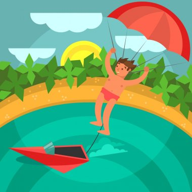 Man with parachute.