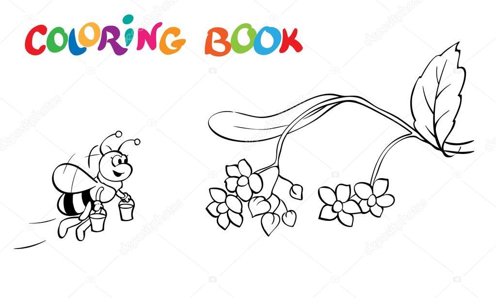 Libro para colorear o página. Flores y abejas de Fanny. -Ilustración ...