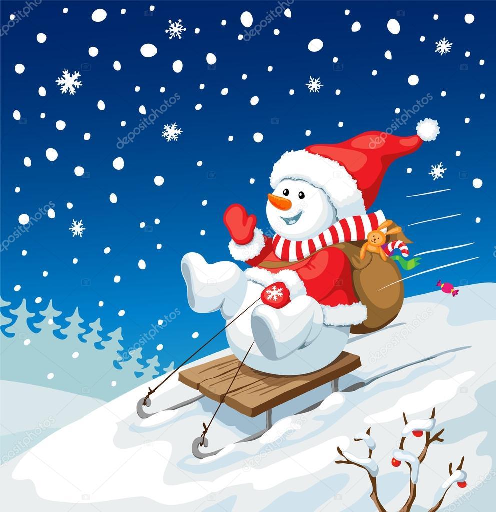 Weihnachten-Abbildung. Schneemann auf Schlitten mit ...