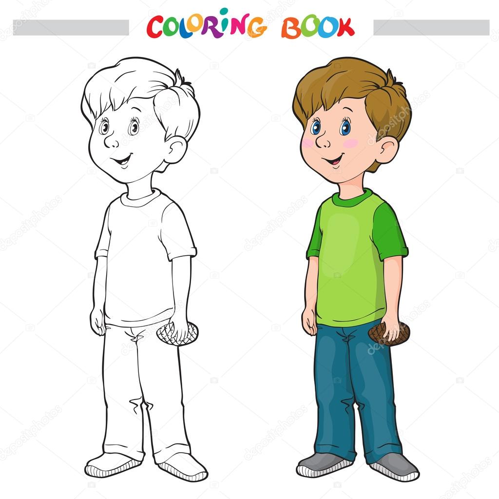 Imágenes Dibujo Del Contorno De Un Niño Esquema De Página Para