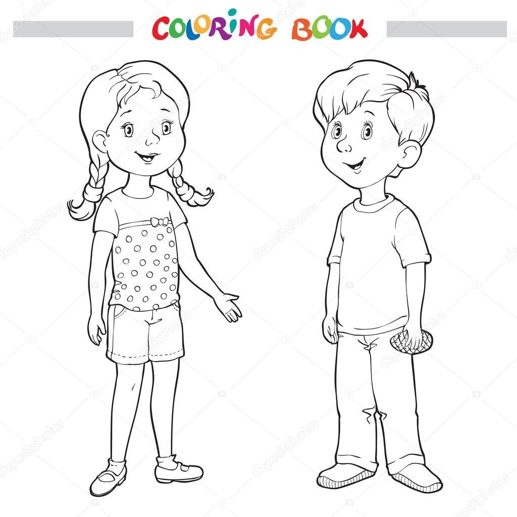 Boyama Kitabı Veya Sayfa Erkek Ve Kız Stok Vektör Linaflerova