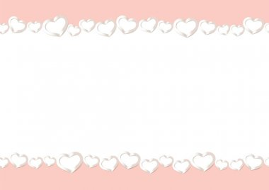 Valentines Day seamless background. White Hearts Border Frame. Vector Frame with horizontal Space for your Text. icon