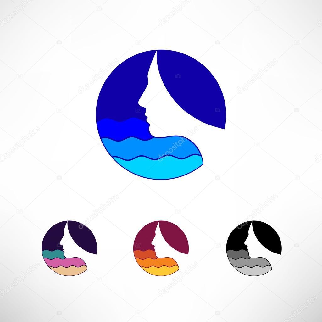 Circle icon set vector logo. Head, hair and waves. Female think sea.
