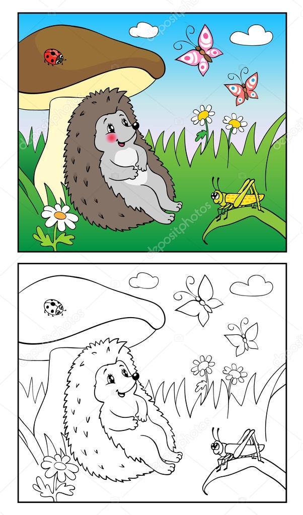 Libro para colorear. Ilustración de hedgehog e insectos para niños ...