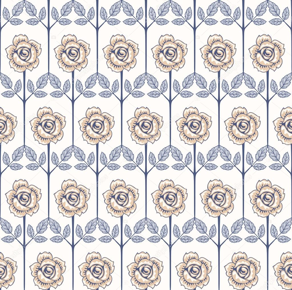 Seamless vintage rose pattern with roses.