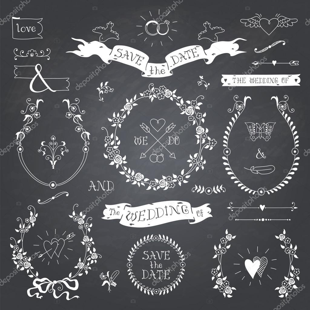 Wedding retro set on blackboard.