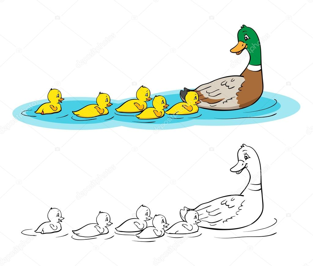 Coloring Book Mother Duck And Ducklings Stock Vector