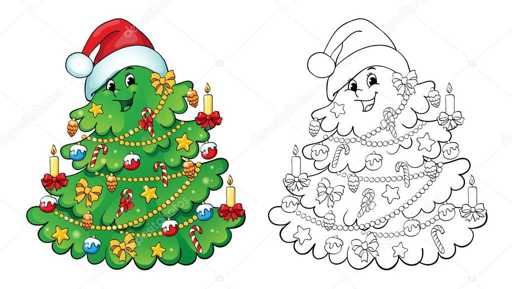 Boyama Kitabı Noel Ağacı Kart Kavramı Stok Vektör Linaflerova