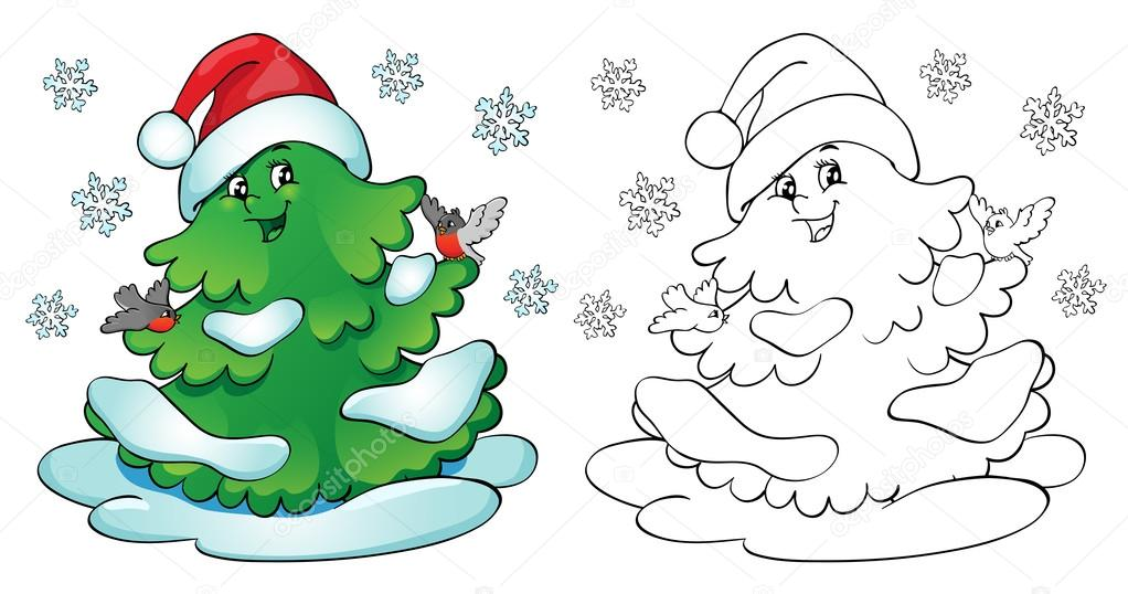 Boyama Kitabı Bullfinches Ve Kar Taneleri Ile Noel Ağacı Stok