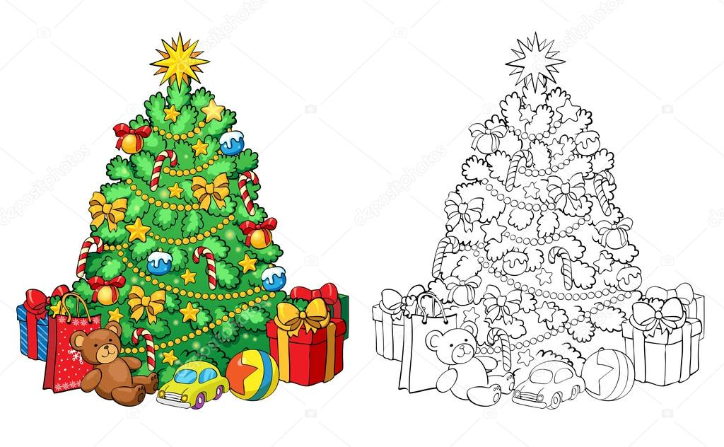 Coloring Book Christmas Tree With Decorations And Gifts Stock
