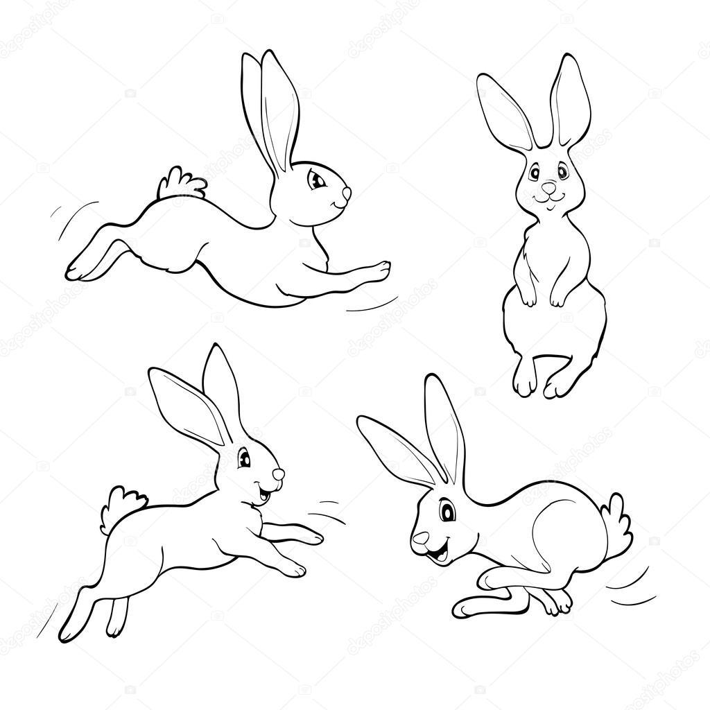 Libro para colorear o página. Cuatro conejos de fanny — Vector de ...