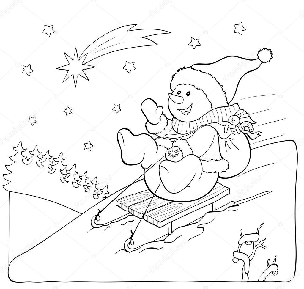 Libro para colorear o página. Muñeco de nieve en trineo con regalos ...