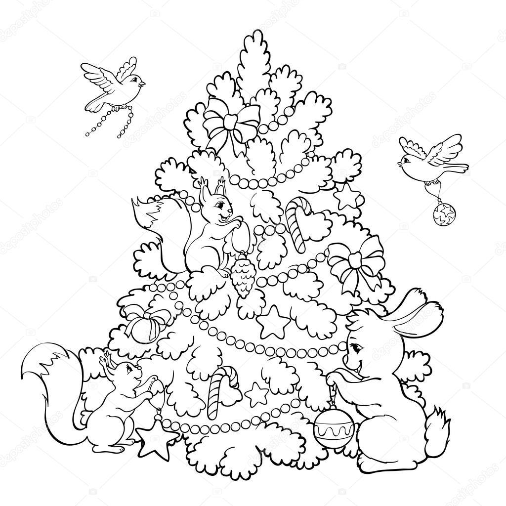 塗り絵漫画の動物はクリスマス ツリーを飾る ストックベクター