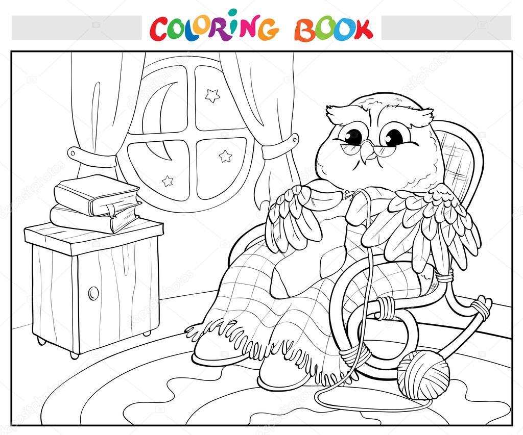 Boyama Kitabı Bir çorap örgü Sandalye Yaşlı Baykuş Stok Vektör