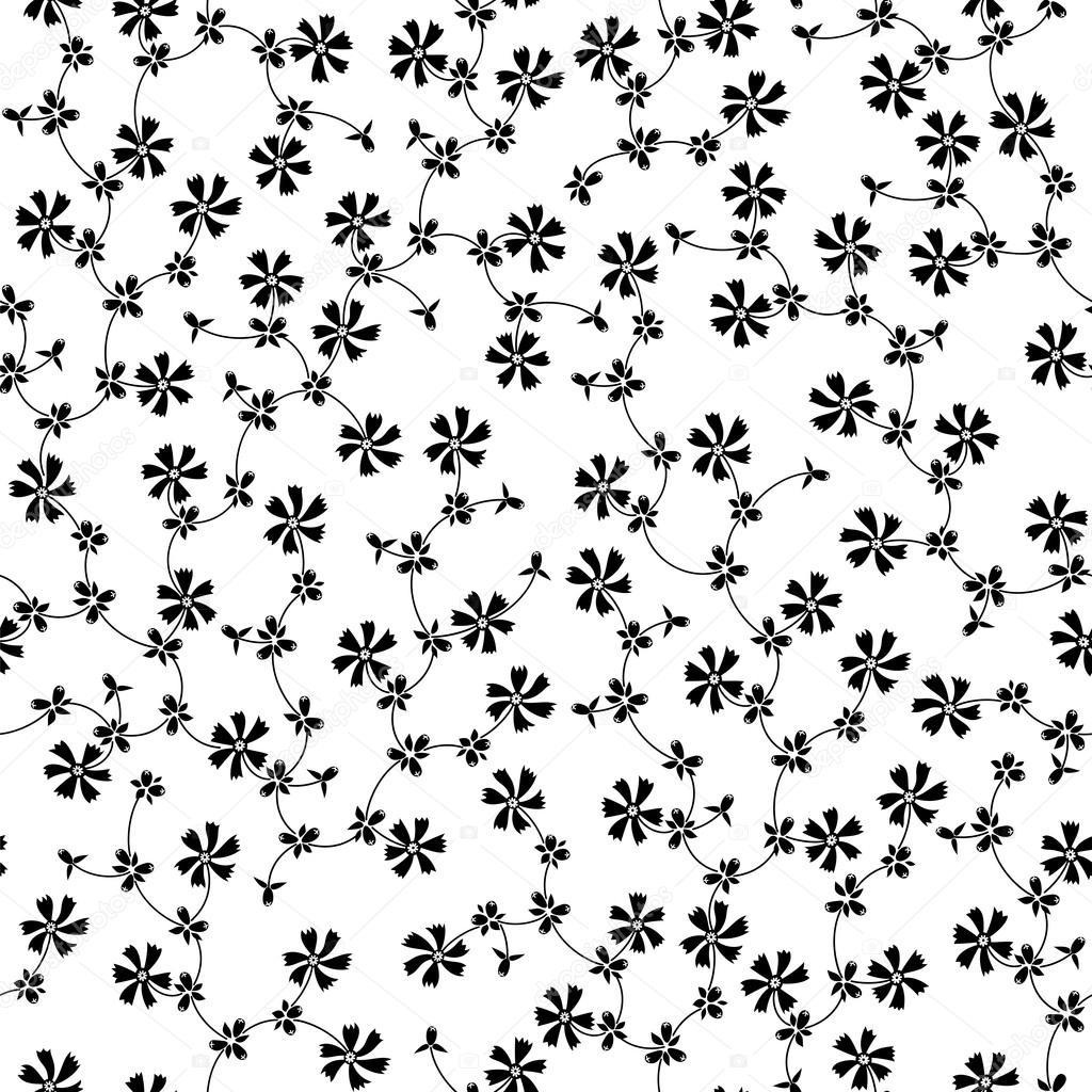 흰색 바탕에 작은 검은색 꽃 화려한 완벽 한 패턴 — 스톡 벡터 ...