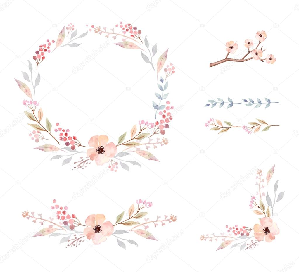 Floral Frame Collection. Set of cute watercolor flowers.