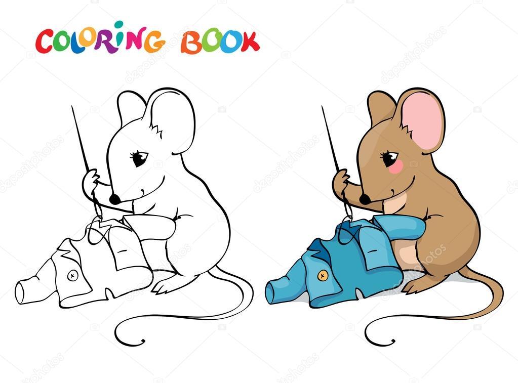 Boyama Kitabı Veya Sayfa Bir Ceket Dikiş Ile Fare Stok Vektör