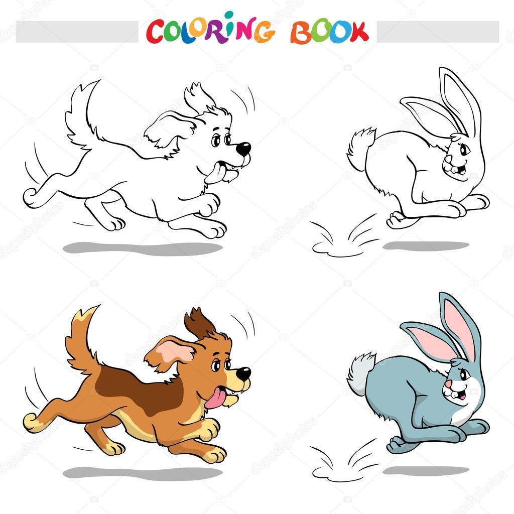 Libro para colorear o página. Perro persiguiendo un conejo — Archivo ...