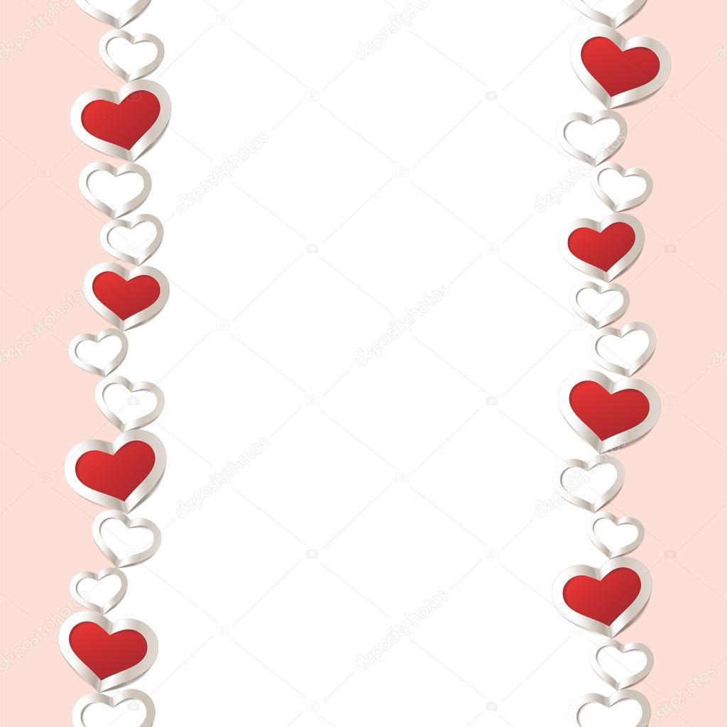 Fondo del día de San Valentín. Marco de corazones rojos frontera ...