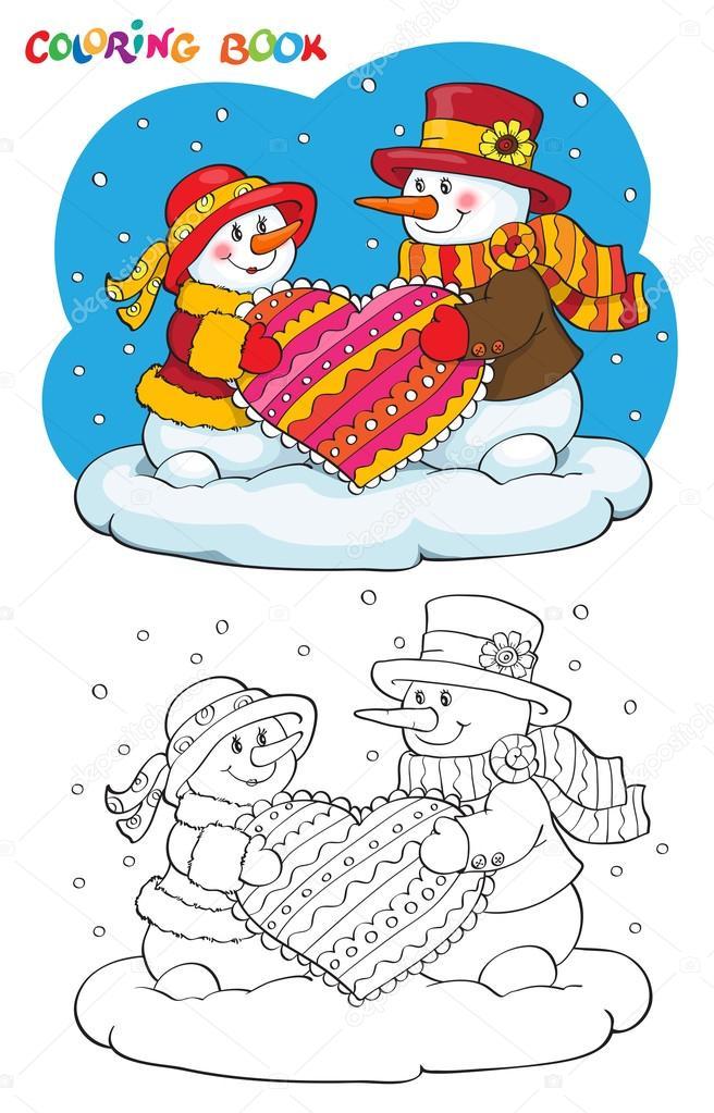 Malbuch oder Seite. Zwei Schneemänner mit Herz — Stockvektor ...