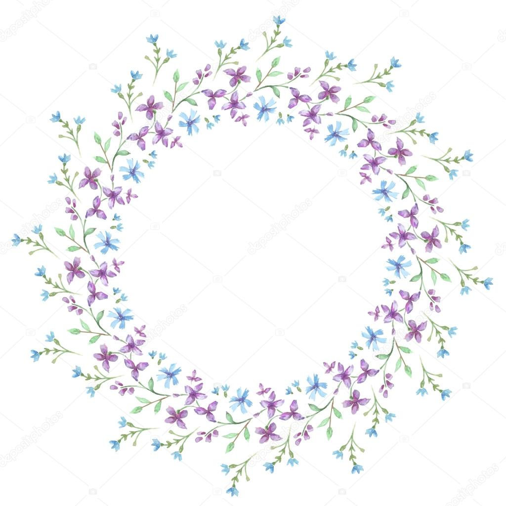 Floral watercolor Frame. Vector flowers.