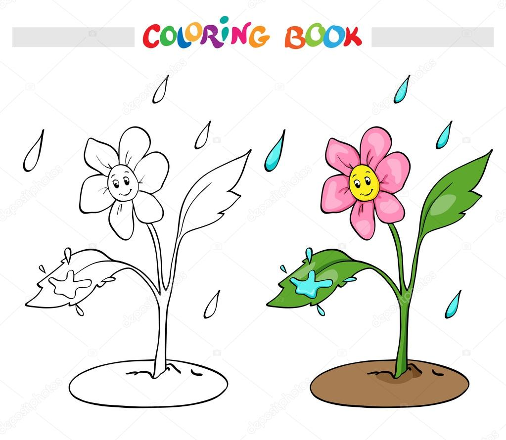 Boyama Kitabı Veya Sayfa çiçek Papatya Yağmur Sevinir Stok Vektör