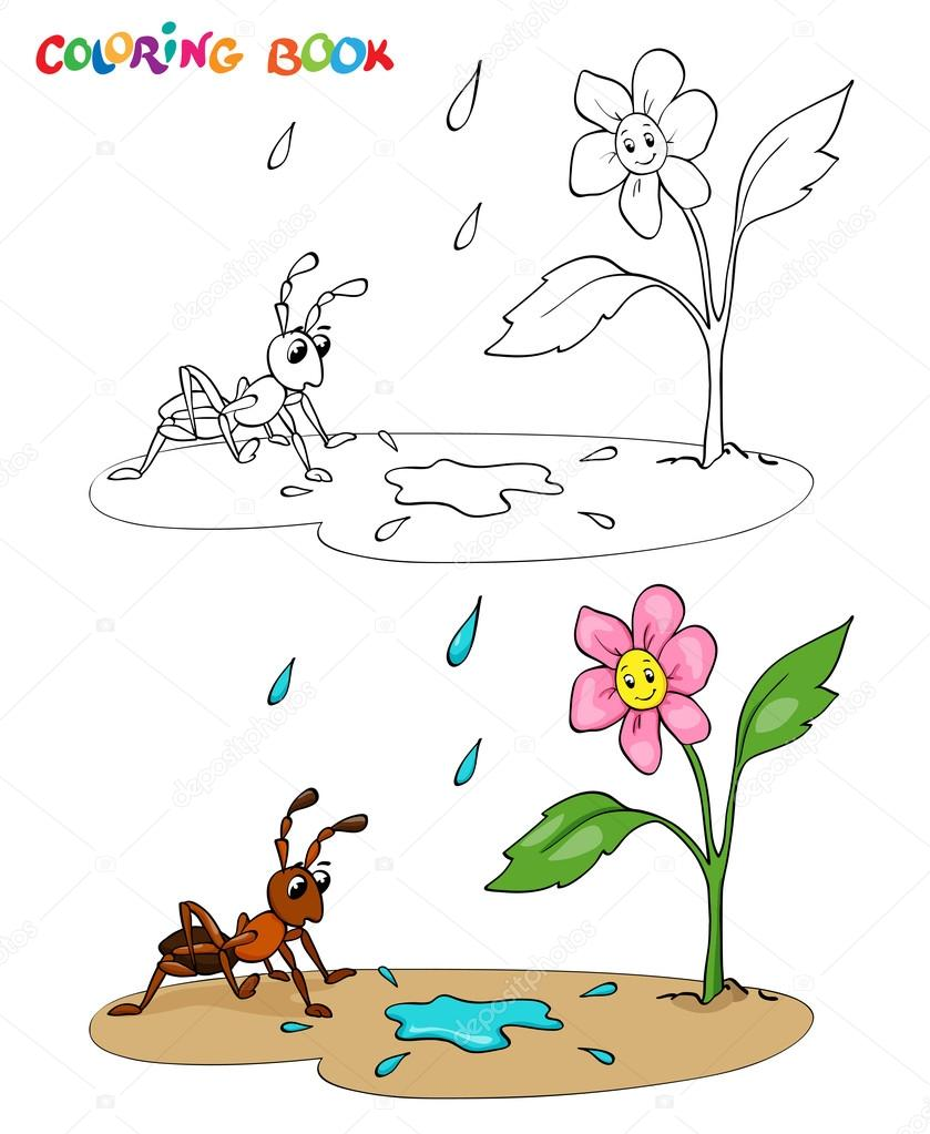 Coloring Book Or Page Flower Daisy With Ant It S Raining Vector Illustration Premium Vector In Adobe Illustrator Ai Ai Format Encapsulated Postscript Eps Eps Format