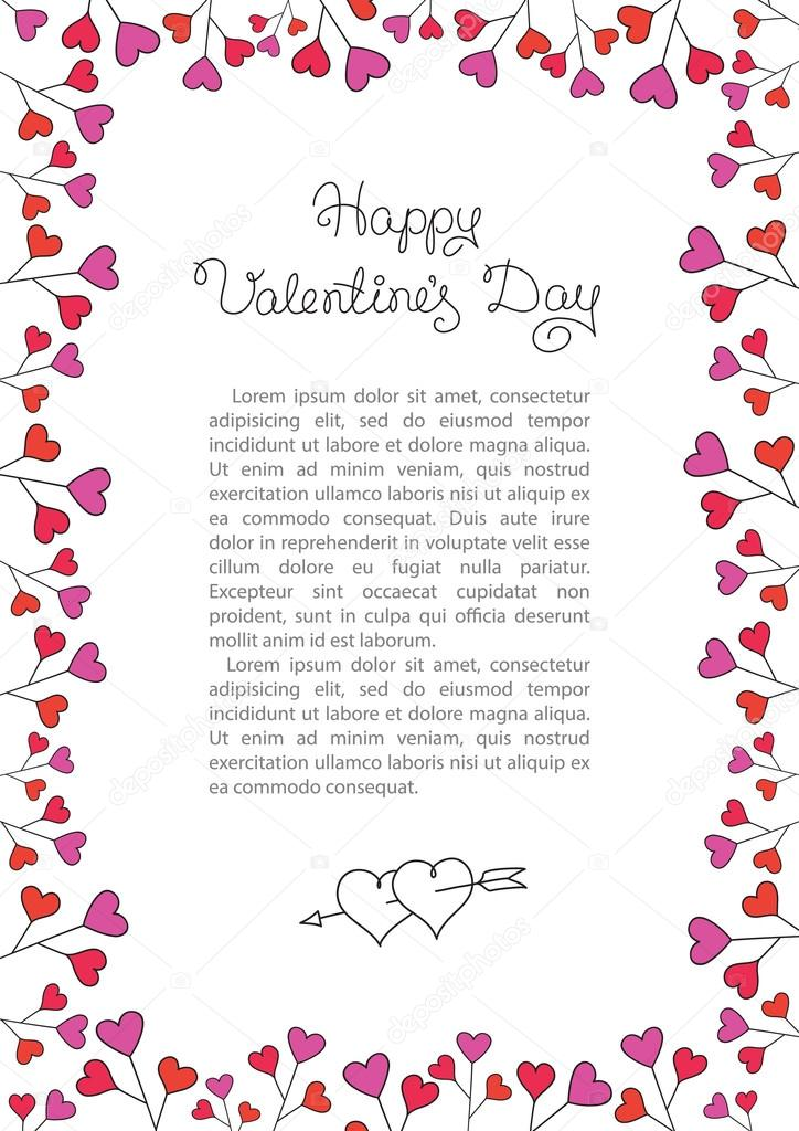 Valentines Day Background Red Hearts Border Frame Vector Vertical