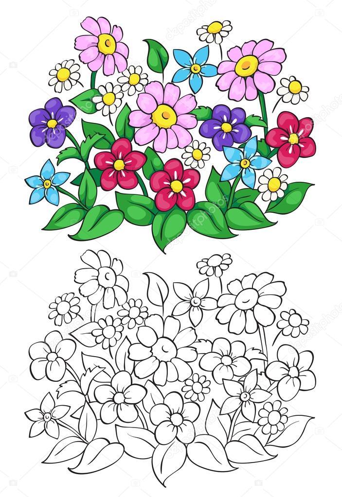 çiçek Boyama Kitabı Vektör çizim Stok Vektör Linaflerova 99452816