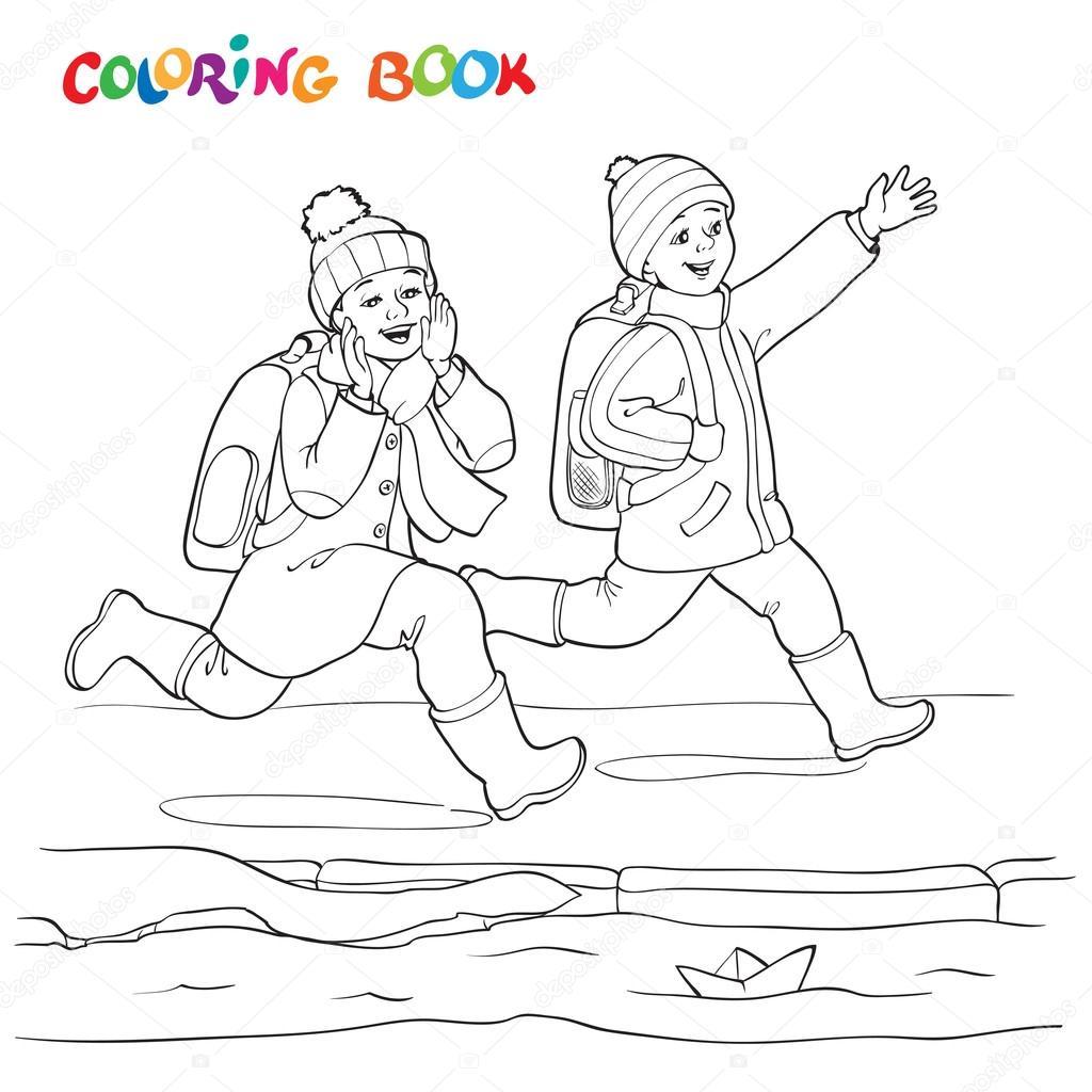 Boyama Kitabı Veya Sayfa Kağıt Tekne Su Birikintileri çalışan Iki