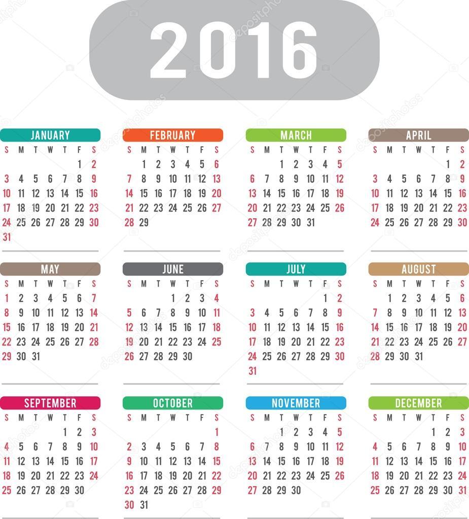 englischen design kalender 2016 stockvektor guru86. Black Bedroom Furniture Sets. Home Design Ideas