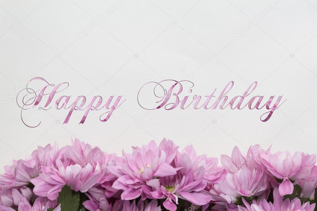 Happy Birthday card with flower decoration Stock Photo hanohiki